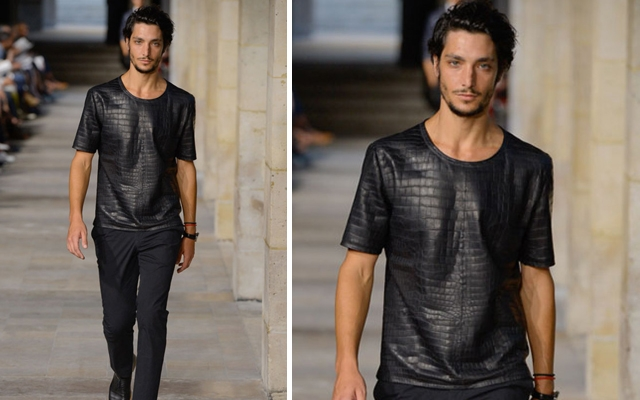 Above: A model walks the runway wearing an Hermes crocodile shirt -- part of the label's spring/summer 2013 collection