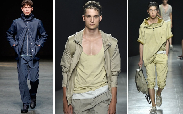 Above: Windbreakers coming down the runway at the YMC F/W14 presentation and the Bottega Veneta S/S15 presentation
