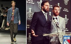 Above (L-R): Prada spring/summer 2014 runway, Instagram of Henrik Lundqvist at Press Conference, May 29, 2014