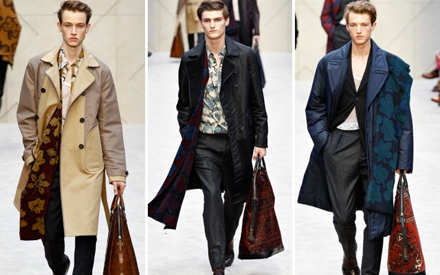 Above: Knee-length jackets seen on the runway at the Burberry Prosum fall 2014 presentation