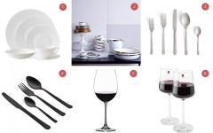 Above: 1) Jasper Conran Strata for Wedgewood 2) Dauville Collection from Canvas Home 3) Almoco flatware from DWR, $27 per setting 4) Herdmar Olso in matte black, $58 per setting 5) Riedel Vivant Bordeaux is a classic 6) iittala offers a modern take on wine glasses