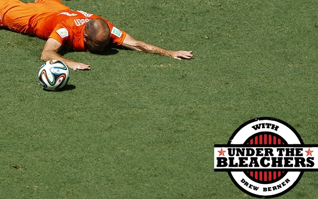Above: Arjen Robben has become notorious for playing up fouls