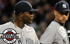 Above: Yankees captain Derek Jeter looks on as pitcher Michael Pineda walks off the mound at Fenway Park