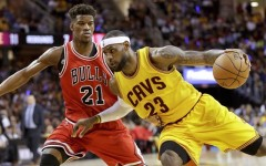 Above: Cleveland Cavaliers forward LeBron James and Chicago Bulls guard Jimmy Butler
