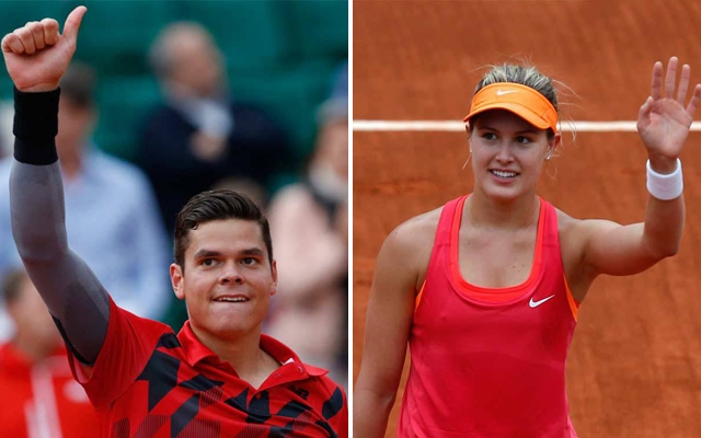 Above: Canadian tennis stars Milos Raonic and Genie Bouchard