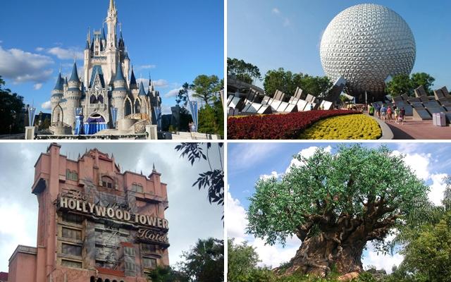 Above: Walt Disney World in Florida has 4 different theme parks: Magic Kingdom, Epcot, Disney's Hollywood Studios, and Disney's Animal Kingdom