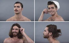 Above (clockwise): Men's grooming trends from 1910s, 1940s, 2010s and 1970s