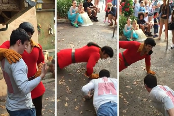 Above: Guy challenges Disney World's Gaston to a push-up contest