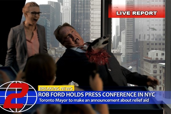 Above: A flying shark skewers a Rob Ford impersonator in 'Sharknado 2'