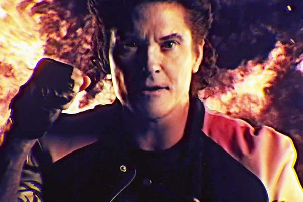 Above: David Hasselhoff's new music video features amazingly dated graphics, dinosaurs, vikings, keytars and flamethrowers