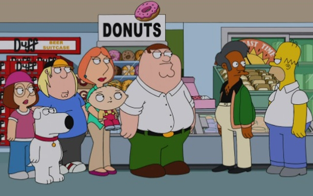 Above: The Griffins invade Springfield in the upcoming 'The Simpsons-Family Guy' crossover episode