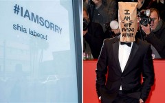 "Above: At his #IAMSORRY art exhibit in L.A., Shia LaBeouf invited visitors to sit with him while he wore his ""I Am Not Famous Anymore"" paper bag over his head"