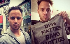 Above L-R: Julien Blanc in front of the Toronto Eaton Centre on a previous visit / Julien Blanch shows off his 'Diss Fatties Bang Hotties' T-shirt on Twitter