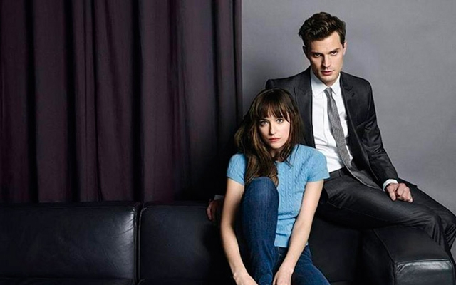 Above: Dakota Johnson and Jamie Dornan star in the upcoming adaptation of 'Fifty Shades of Grey'