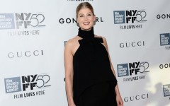 Above: Rosamund Pike attends the world premiere Of 'Gone Girl' at Alice Tully Hall in New York City.