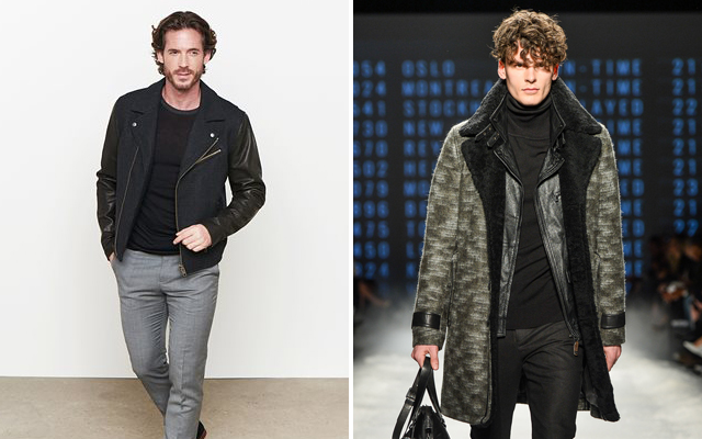 Leather Jacket [Shown above (L-R): Danier Beck & Wool leather biker and a Rudsak black leather jacket worn under a Shearling coat]
