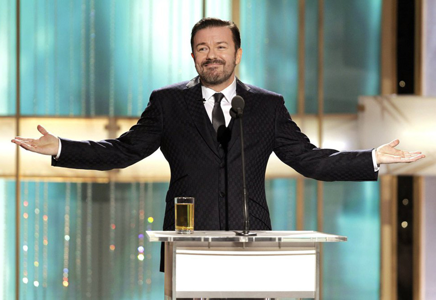 Above: Ricky Gervais previously played Golden Globe host for three consecutive years from 2010