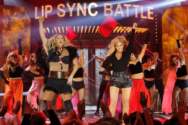 "Above: Beyoncé joins Channing Tatum on stage for an incredible performance of ""Run the World (Girls)"" on Lip Sync Battle"