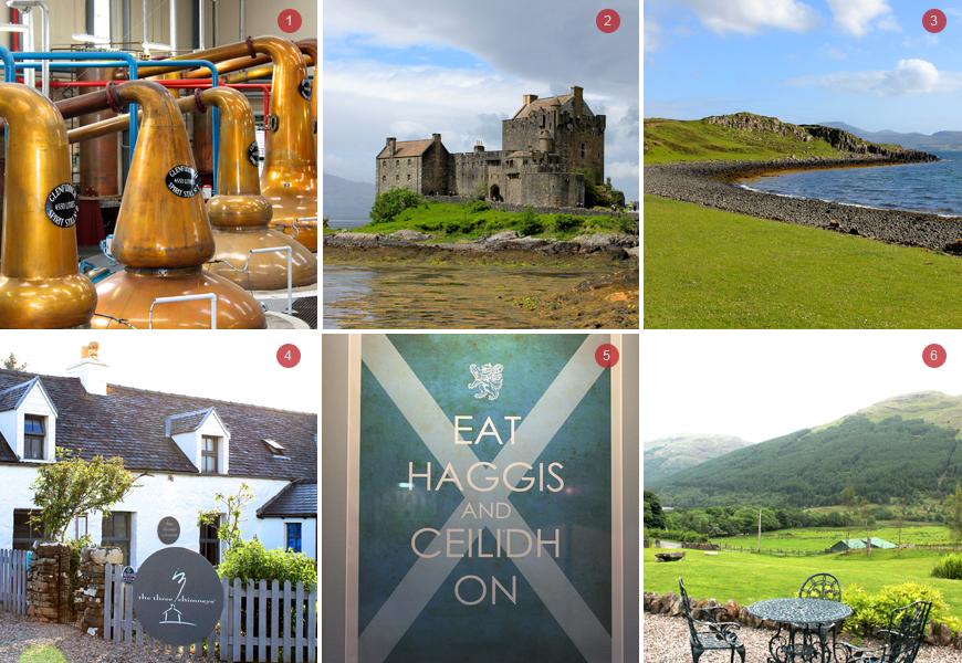 Above: 1) Copper Stills at Glenfiddich Distillery 2) Eilean Donan Castle 3) Isle of Skye 4) The Three Chimneys 5) Eat Haggis 6) View from Monachyle Mohr Terrace