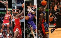 Above (L-R): Spud Webb (1986), Michael Jordan (1988), Vince Carter (2000), Jason Richardson (2003), and Zach LaVine (2015)