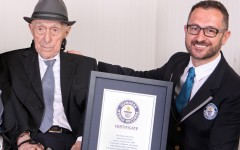 Above: In this photo supplied by Guinness World Records, Marco Frigatti, Head of Records for Guinness World Records, right, presents Israel Kristal a certificate for being the oldest living man, in Haifa, Israel, Friday, March 11, 2016.