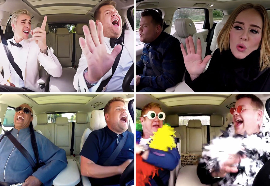 Above (clockwise): James Corden does carpool karaoke with Justin Bieber, Adele, Sir Elton John and Stevie Wonder