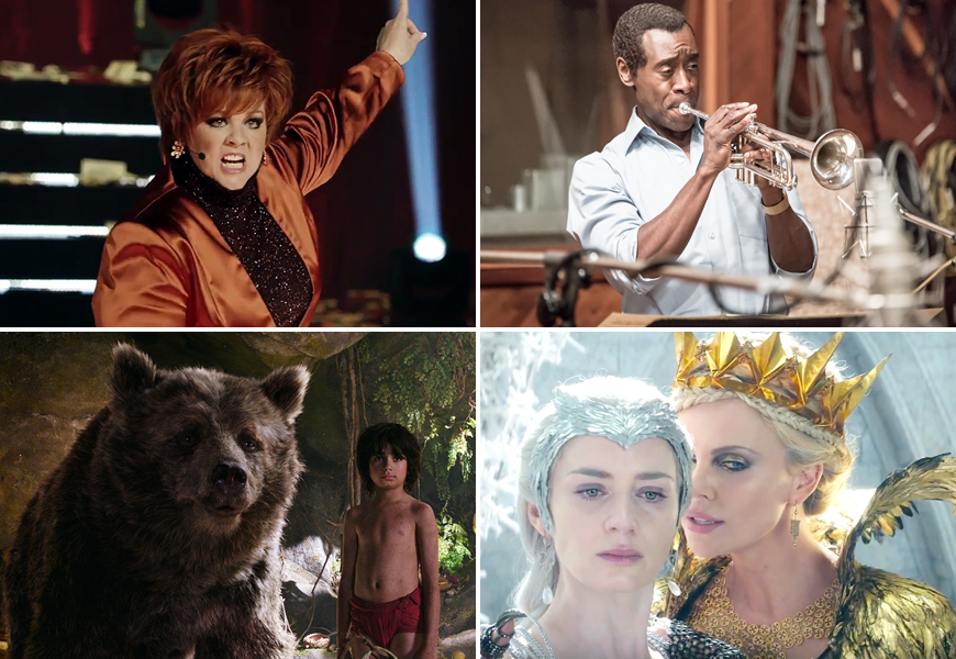 Above (Clockwise): Melissa McCarthy in The Boss, Don Cheadle in Miles Ahead, Emily Blunt and Charlize Theron in The Huntsman: Winter's War and Neel Sethi in The Jungle Book