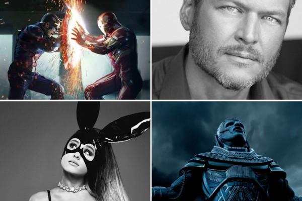 Above (Clockwise): 'Captain America: Civil War,' Blake Shelton, 'X-Men: Apocalypse' and Ariana Grande