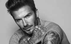 Above: David Beckham is joining forces with L'Oréal-owned Parisian skincare brand Biotherm