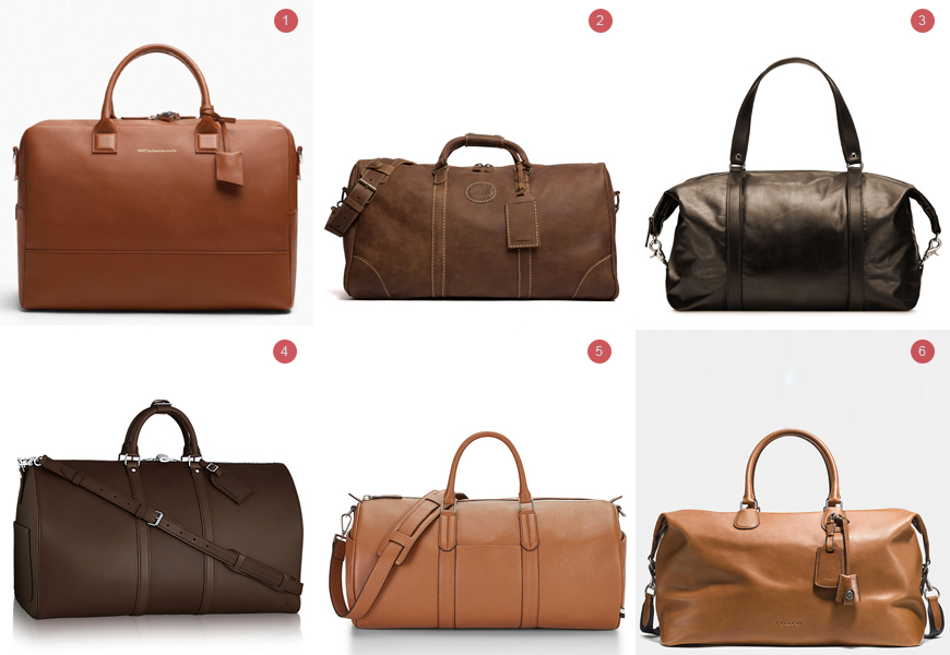 Above: 1. Douglas Holdall from Want Essentiels, $1650 / 2. Large Banff Bag from Roots, $488 / 3. Folded Corner Duffel from M0851, $595 / 4. Keepall 55 from Louis Vuitton, $5900 / 5. New Duffle Bag from Uri Minkoff, $475 6. Explorer Bag 52 from Coach Mens, $795