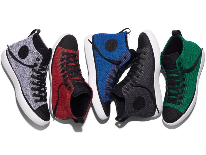 Above: The Converse All Star Modern sneaker collection in white, action red, soar blue, black and lucid green
