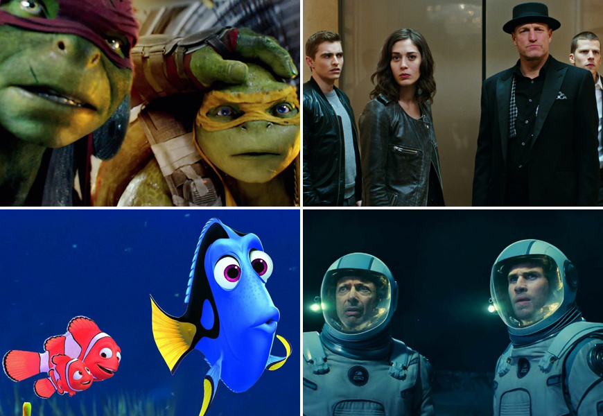 Above (Clockwise): Teenage Mutant Ninja Turtles: Out of the Shadows, The Conjouring 2, Independence Day: Resurgence and Finding Dory