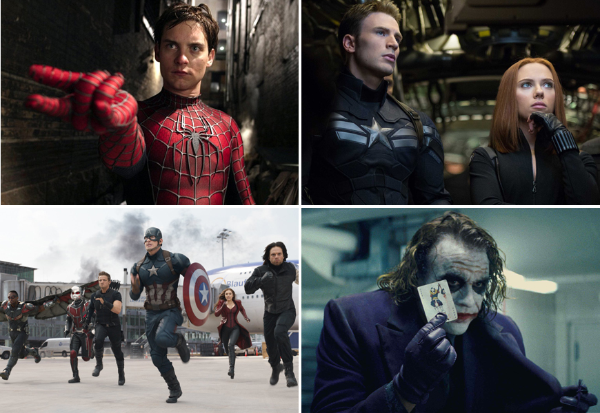 Above (clockwise): Spider-Man 2, Captain America: Winter Soldier, The Dark Knight, and Captain America: Civil War