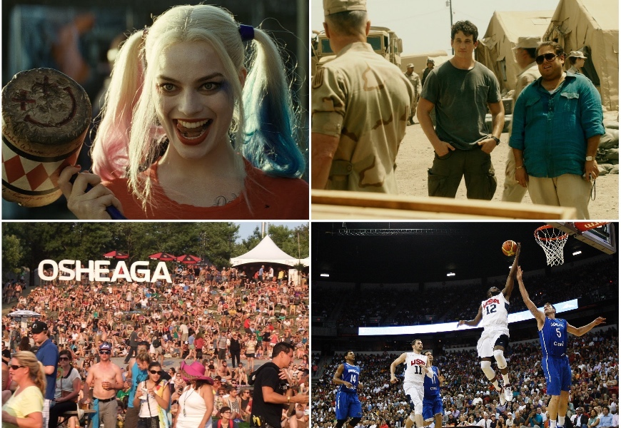 Above: Suicide Squad, War Dogs, Osheaga, and Olympic Basketball are all heading your way this month