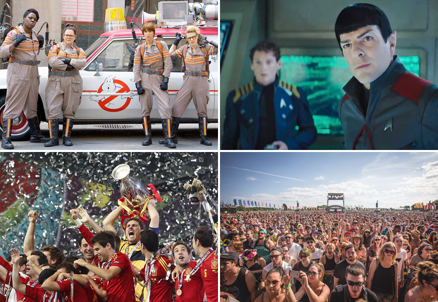 Above: The Ghostbusters reboot, Star Trek Beyond, WayHome and the Euro Cup final are all heading your way this month