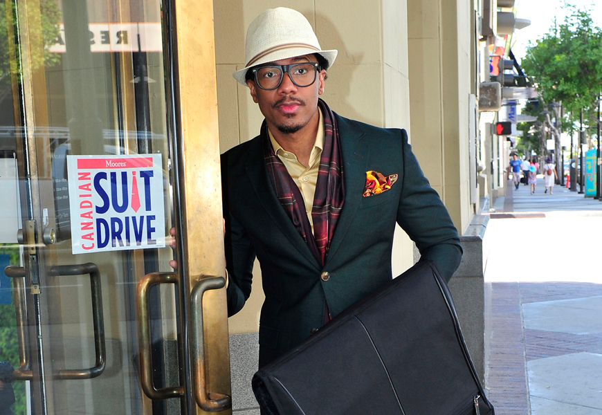 Above: This month Moores has partnered up with America's Got Talent host Nick Cannon to bring awareness to their 7th annual Canadian Suit Drive
