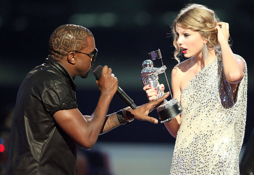 Above: Kanye West and Taylor Swift at the 2009 VMAs