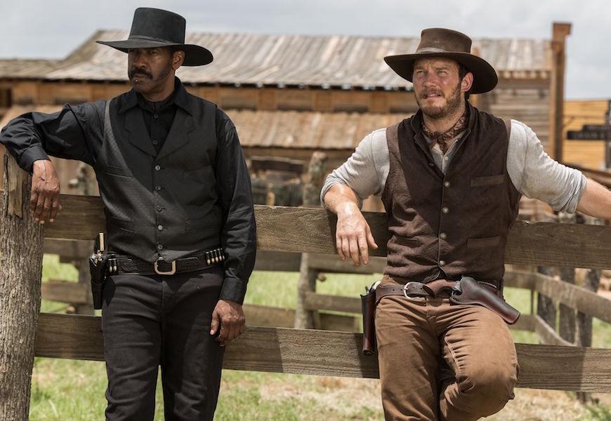 Above: Denzel Washington and Chris Pratt will star in the western reboot.