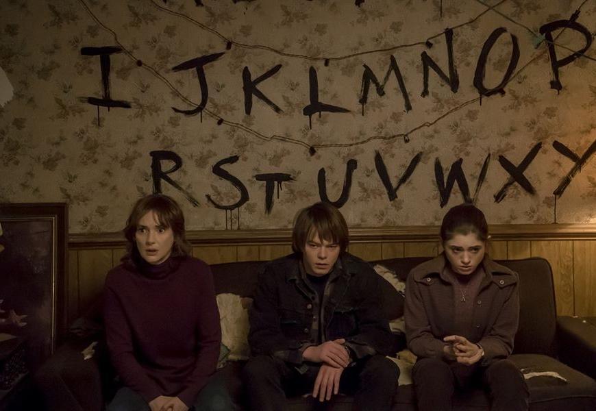 "Above: Stars of the Netflix original, ""Stranger Things""."