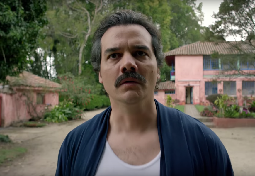 Above: Wagner Moura plays notorious drug lord Pablo Escobar