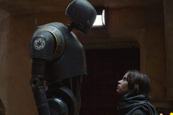 Above: Felicity Jones faces off with a seemingly hostile robot