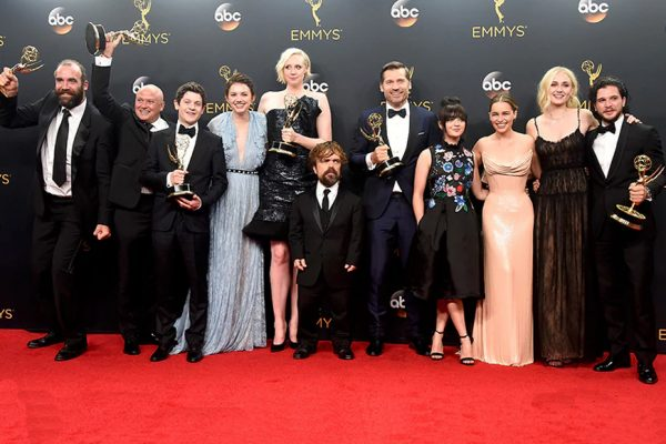 Above: 'Game Of Thrones' became the most decorated scripted show in Emmy history on Sunday night