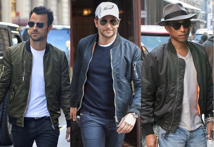 Above: Some of the biggest stars are embracing the bomber jacket