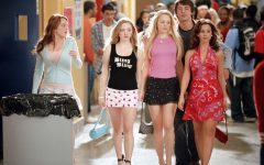 Above: 'Mean Girls' takin' over North Shore High School (L-R): Cady Heron (Lindsay Lohan), Karen Smith (Amanda Seyfried), Regina George (Rachel McAdams), Aaron Samuels (Jonathan Bennett) and Gretchen Wieners (Lacey Chabert)