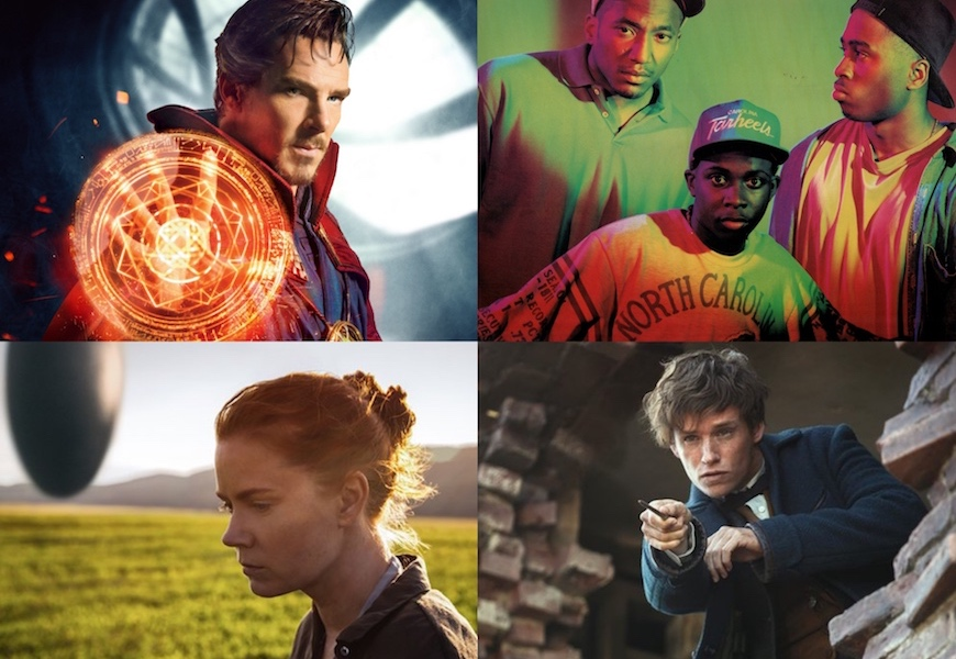 Above: 'Arrival', 'Doctor Strange', A Tribe Called Quest, and 'Fantastic Beasts' are all coming your way this month
