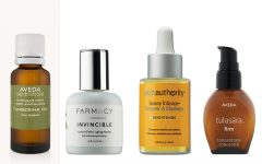 Above: Aveda's Singular Note Lavender Fleurs Oil, Farmacy's Invincible Root Cell Anti-Aging Serum, Skinauthority's Beauty InfusionTurmeric & Blueberry Brightening Serum, and Aveda's Tulasara Firm Concentrate