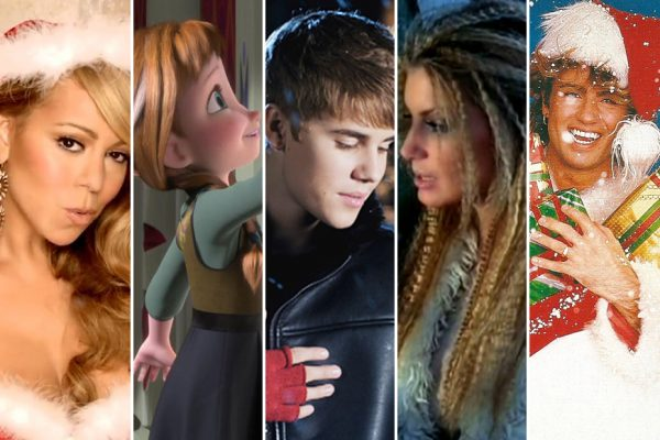Above: Holiday songs from Mariah Carey, Frozen, Justin Beiber, Faith Hill and Wham are among the most-downloaded ever