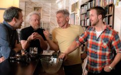 Above: Denis Villeneuve and Ridley Scott chat with actors, Harrison Ford and Ryan Gosling