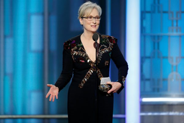 Above: Meryl Streep accepting the Cecil B. DeMille Award at the 74th annual Golden Globes