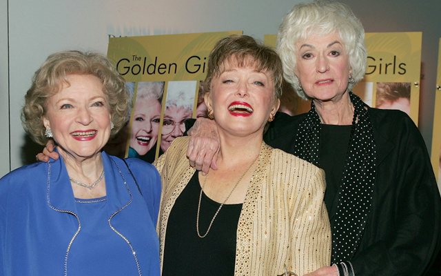 Above: Betty White, Rue McClanahan and Bea Arthur at the DVD release party for Golden Girls in November 2004 in Los Angeles, California